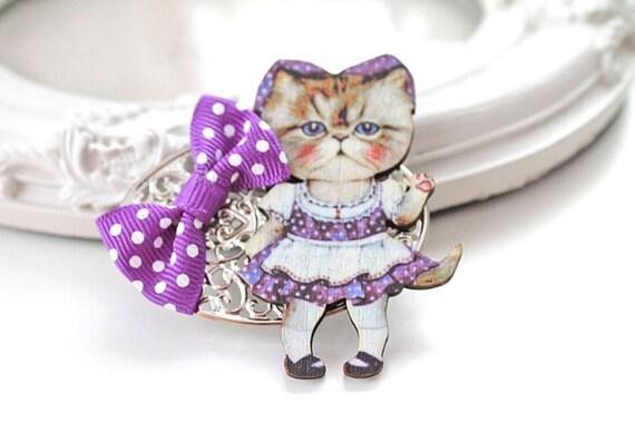Hair Clip cat  purple dress  kawaii  lolita accessory  sweet