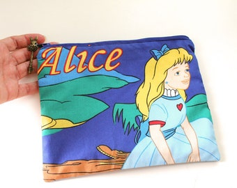 Alice in Wonderland  pouch, zipper pouch, pencil case, make up pouch OOAK