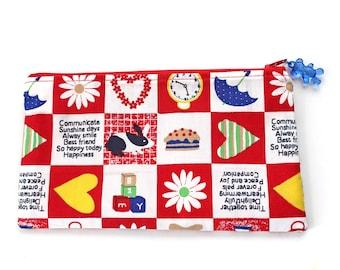 Kawaii kid print zipper pouch, pencil case, make up pouch