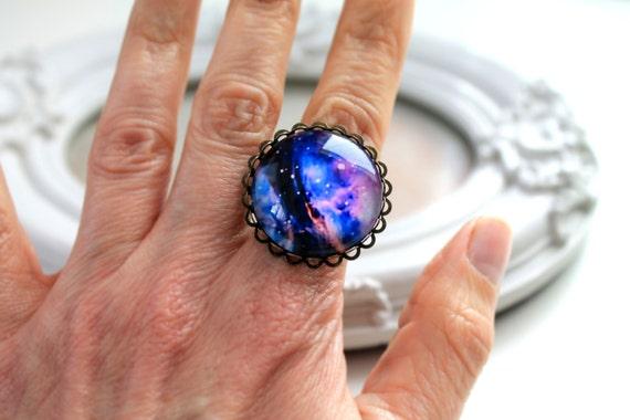 Galaxy ring  feminine black purple star night planet astronomy science large B