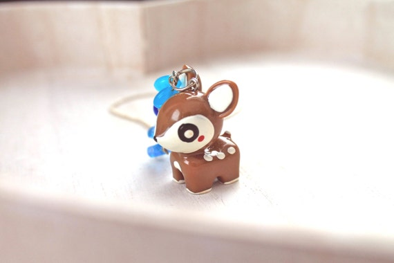 SALE  Brown Deer Kawaii Necklace with blue beads Gothic Lolita