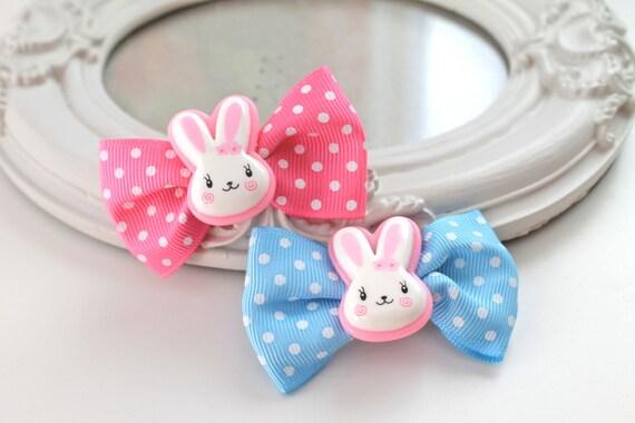 SALE 40% Last pair Hair Clips set of 2  kawaii fairy kei lolita accessory white bunny rabbit kanzashi PINK blue