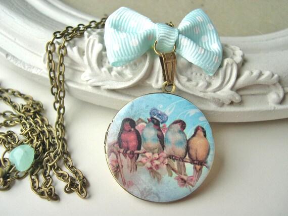 Bird king love love locket necklace pastel blue