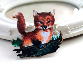 Fox wooden brooch cute woodland