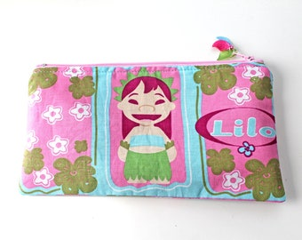 Lilo (from Lilo and Stitch) kawaii zipper pouch, pencil case, make up pouch, upcycled, OOAK