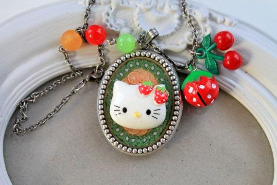 40% off Kawaii strawberry kitty Fruit Necklace Lolita cherry fruit ooak