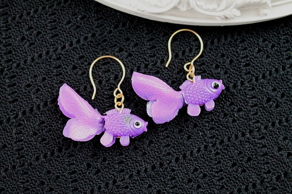 Dangling goldfish  earrings cute kawaii kitsch lolita purple fish