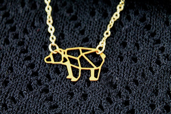 Golden bear  necklace filigree geometric woodland foret animal