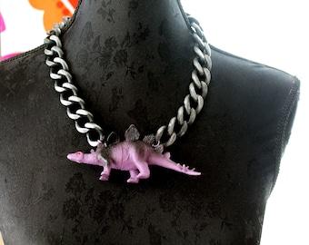 Black purple dinosaur statement necklace big chunky chain gothic harajuku lolita kitsch original quirky