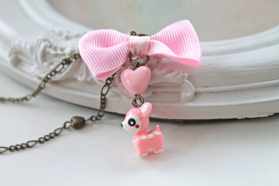 Pink Deer  kawaii Necklace gothic lolita cute bow