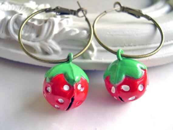 Metal strawberry hoops Kawaii Gothic Lolita cute fruit