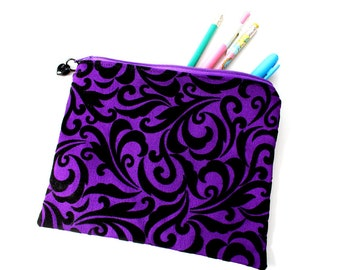 Haunted mansion print pouch, zipper pouch, pencil case, make up pouch, gothic