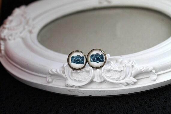 Little camera clip on earrings sweet lolita feminine  black white