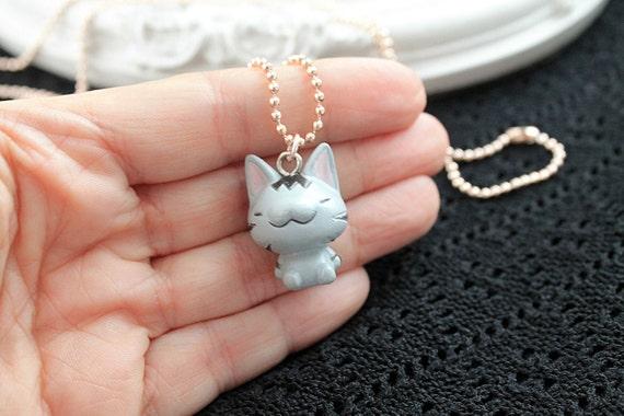 Kawaii tabby cat simple necklace cute lolita girl kitten kitteh kitty retro pink gold chain