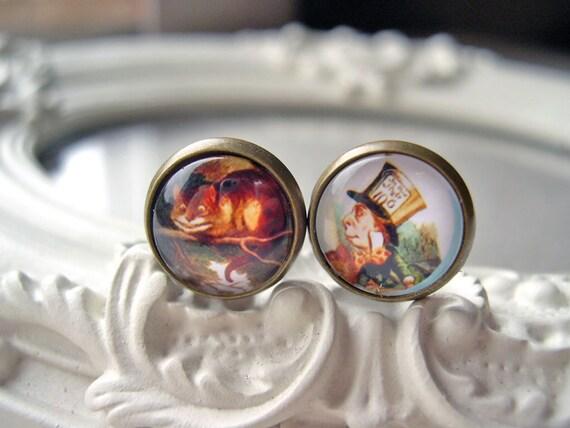 Alice in Wonderland Cheshire Cat Mad Hatter  clip earrings sweet lolita feminine