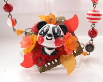Cute Panda Necklace Kawaii choker Gothic Lolita red orange fall autumn