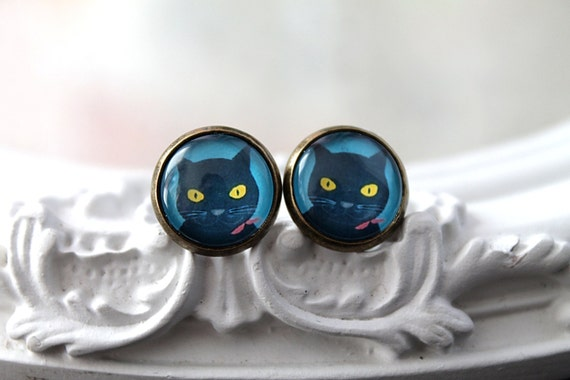 Cat  clip earrings sweet lolita feminine black basement kitty kitten kitteh