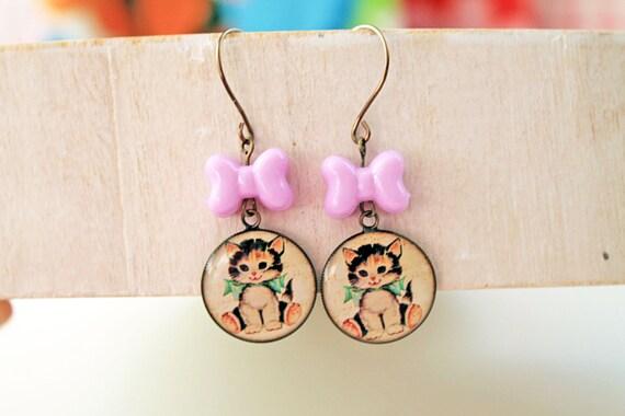 Kawaii retro cat kitten earrings with bow lolita sweet fairy kei