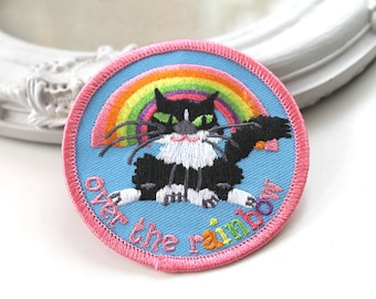 Kawaii fluffy  tuxedo cat and rainbow embroidered patch iron or sew on back cute animal trendy fashion  accessory