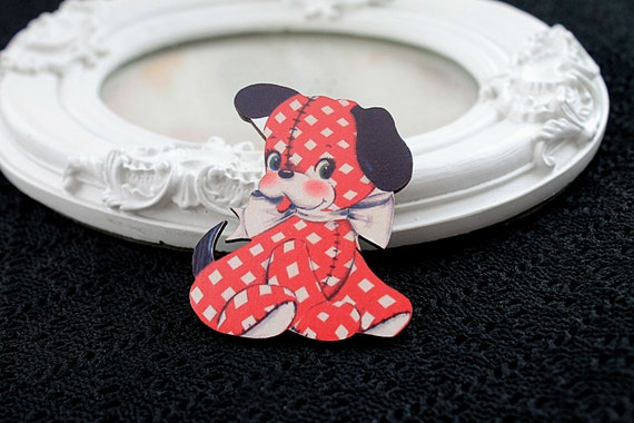Puppy dog toy wooden brooch cute woodland  red white dots