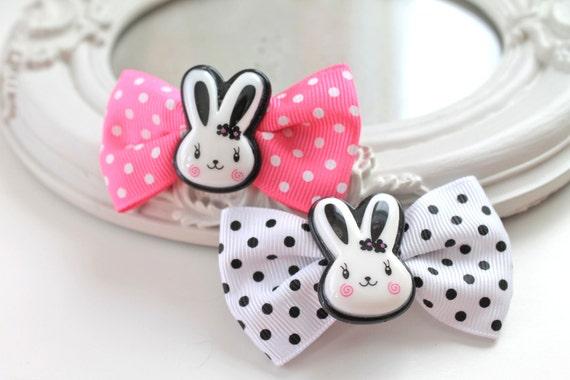 SALE 40%  Hair Clips set of 2  kawaii fairy kei lolita accessory white bunny rabbit kanzashi PINK black