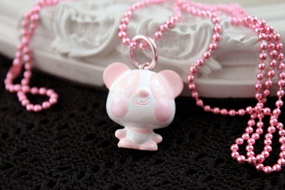 Kawaii panda long Necklace Gothic Lolita pink  chain clover