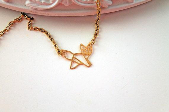 Golden fox necklace filigree geometric woodland foret animal