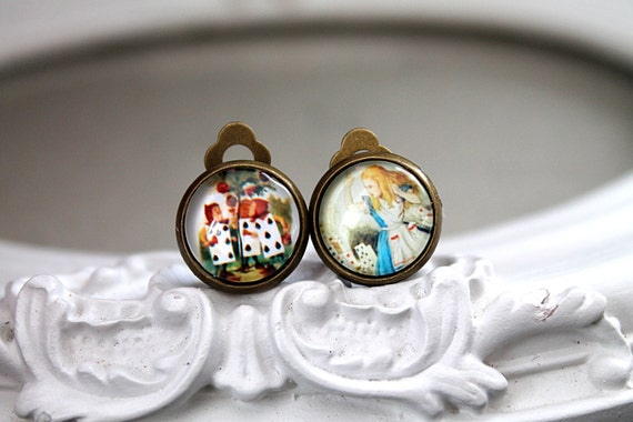 Alice in Wonderland and the painting cards clip earrings sweet lolita feminine
