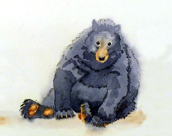Bear Art, Art Prints, Black Bear, Funny animal art, Nature painting, Watercolor Prints, Watercolor bear, Wall art, Wildlife art, LaBerge