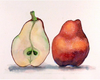 Fruit painting, Kitchen wall art, Sale, Kitchen Art Print, Red Pears, Red Print, Red painting, Fine Art, Red and white, Kitchen painting