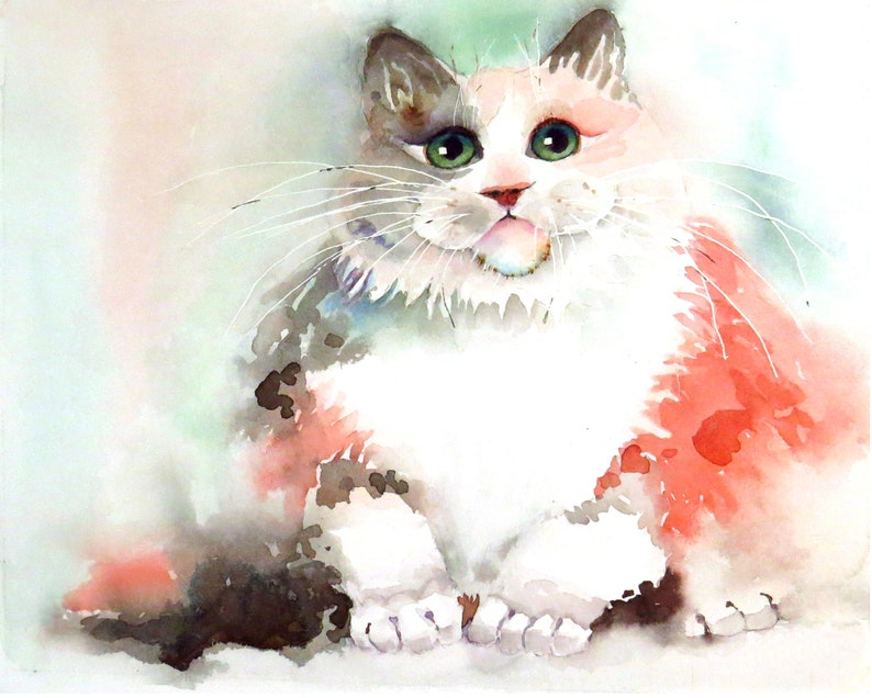 Persian, Cat Painting, Child's room, Wall decor, Long hair, Cat, Cat wall  art, Pink, Watercolor, Original cat painting, Cat Sale, Under 60
