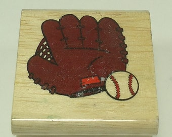 Baseball And Glove Wood Mounted Rubber Stamp From Stamp Etc CR1-022