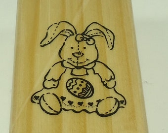 Easter Bunny With Egg Wood Mounted Rubber Stamp