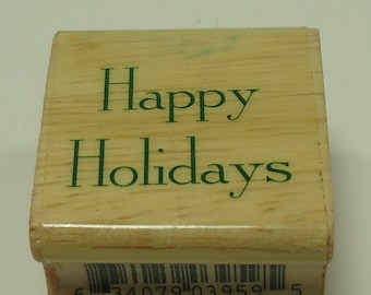 Happy Holidays Wood Mounted Rubber Stamp Christmas