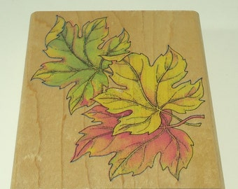 Fall Leaf Trio Wood Mounted Rubber Stamp By Rubber Stampede