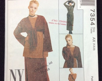 MCall's Misses' Jacket, Top And Mock Wrap Skirt Pattern 7354 Size 4, 6, 8 Stretch Knits