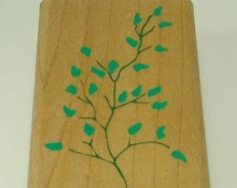 Spring Sprig Leaves Wood Mounted Rubber Stamp By Rubber Stampede