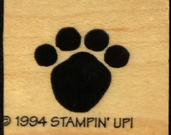 Bear Paw Print Wood Mounted Stamp From Stampin Up