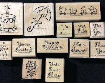 Announcements Wood Mounted Rubber Stamp Set From Stampin Up Umbrella Thank You Baby Cake Flowers Bear Invitation Birthday Shower
