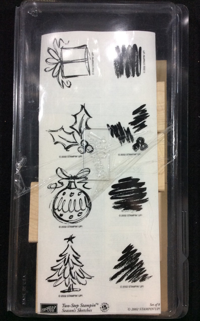 Holly Ornament Tree Season/'s Sketches Wood Mounted Rubber Stamp Set From Stampin Up Two-Step Stamping Gift Present Berries Christmas