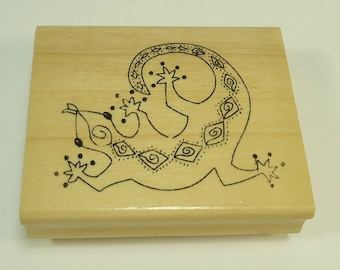 Gecko Wood Mounted Rubber Stamp By Anita's Western, West, Native American, Indian