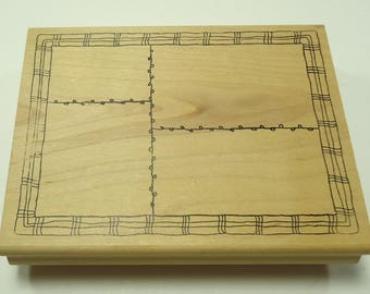 Sectioned Background Stamp Wood Mounted Rubber Stamp By Morning Star Rectangles, Patchwork