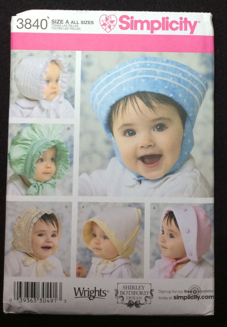 1f63ce643d7 Simplicity Babies  And Toddlers  Hats In Four Sizes