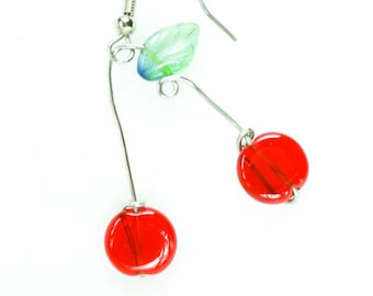Delicious glass cherry earrings