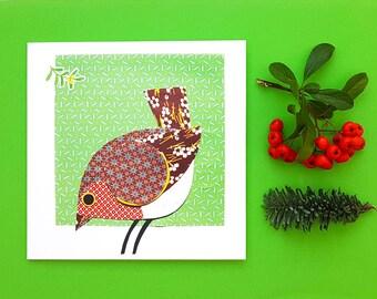 Robin greetings card, Christmas card