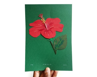 Hibiscus collage made from found and patterned papers. Flower, plants, flora, Malaysian, home decor, art
