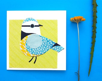Bluetit blank greetings card, print, collage