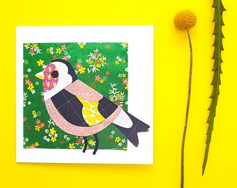 Goldfinch blank greetings card, print, collage
