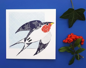 Swallow blank greetings card, print, collage