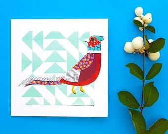 Pheasant blank greetings card, print, collage